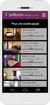 L'application des chambres d'hôtel en journée